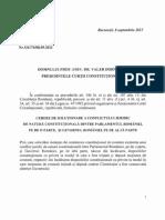 Cererea de Soluționare a Conflictului Juridic de Natură Constituțională Dintre Parlamentul României, Pe de o Parte, Și Guvernul României, Pe de Altă Parte