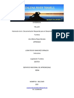 TALLER  Valoración de la Documentación Requerida para el Desarrollo de la Actividad Requerida para el Desarrollo de la Actividad Turistica