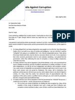 Anna Hazare's letter to PM