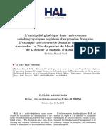 L'Ambiguïté Générique Dans Trois Romans Autobiographiques Algériens d'Expression Française.