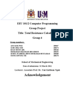 Computer Programming EEU 101 Total Resistance Calculations Project