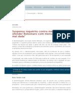 Suspenso inquérito contra médica acusada de ofender Bolsonaro com mensagem sobre