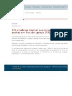 STJ confirma liminar que interditou extração de pedras em Foz do Iguaçu (PR)