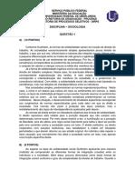 Gabarito Oficial Preliminar - 2 Fase - Sociologia