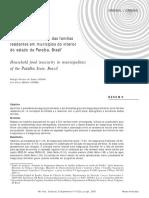 Insegurança alimentar das famílias residentes em municípios do interior do estado da Paraíba, Brasil