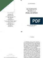 1- Philosophie - Alain Badiou - Manifeste pour la philosophie