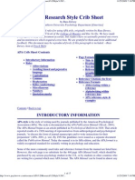 APA Research Style Crib Sheet
