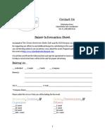 New Baker Information Sheet