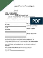 Notice Of Appeal Form For Pro se Litigants