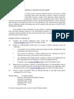 Chemical Sciences Scholarship Form 2011
