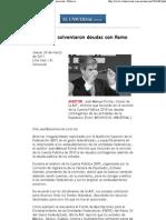 24-03-2011 El Universal Nota Auditoria_ Solvent a Ron Deudas Con Ramo 33