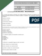 RECUPERAÇÃO DE BIOLOGIA 1º ANO Regular II BIMESTRE