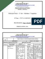 Planejamento 2º Ano - Vespertino  - Educação Físíca - 8ª Fase-2021