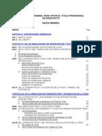 REGLAMENTO GENERAL PARA OPTAR EL TITULO PROFESIONAL DE ARQUITECTO -  FAUA  UPAO  -  2007-09