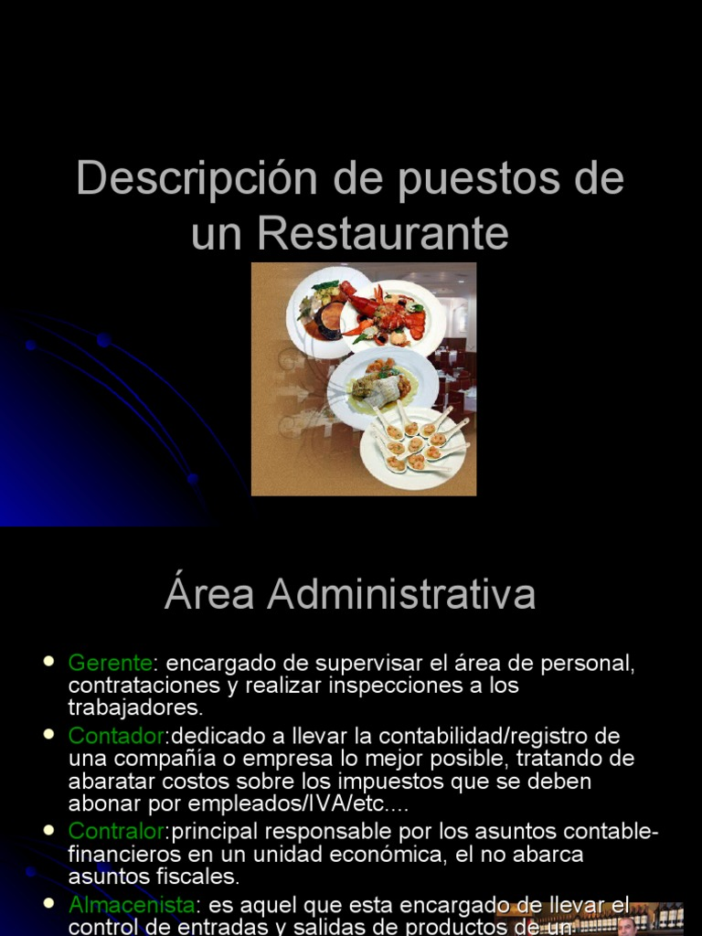 Descripci n de puestos de un restaurante for Areas de un restaurante