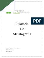 Relatório de Metalografia