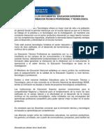ANALISIS 1  DE LOS DOCUMENTOS  EDUCACION SUPERIOR EN MODALIDAD  DE FORMACION TECNICA PROFESIONAL Y TECNOLOGICA.