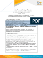 Guia de actividades y rúbrica de evaluación - Tarea 2 - Análisis teórico y formulación de objetivos y metas