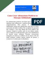 Como Crear Afirmaciones Positivas en Mensajes Subliminales