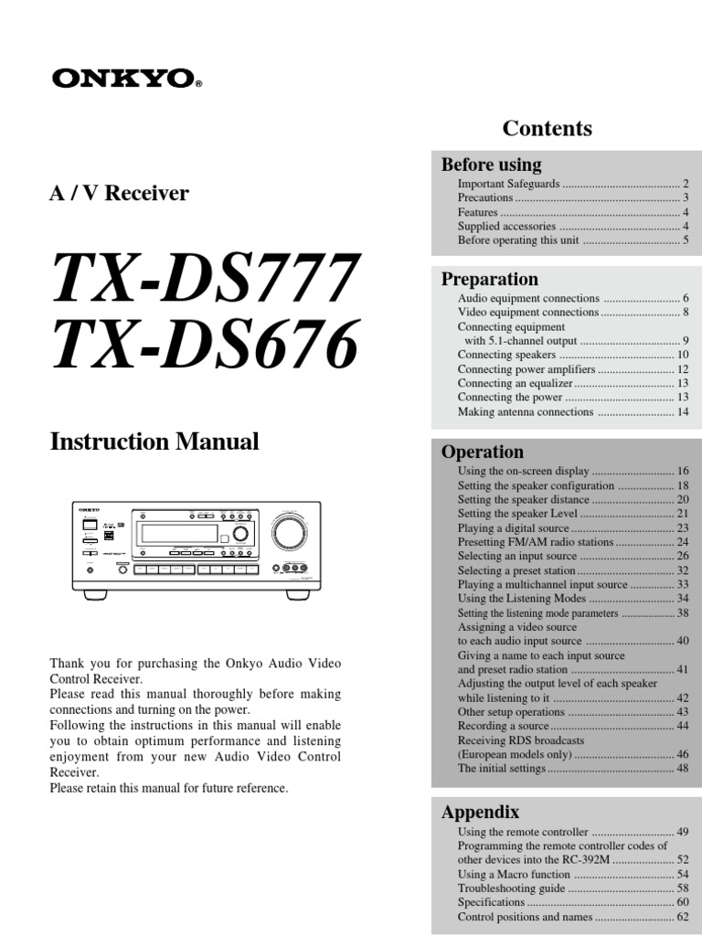 Onkyo TX-DS676 | Ac Power Plugs And Sockets | Loudspeaker
