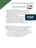 4º ESO - Estructura y Formación de Palabras - Resumen