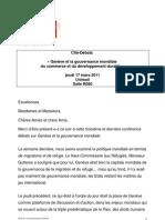 Genève et la Gouvernance mondiale du Commerce et du développement durable
