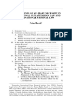REQUIREMENTS OF MILITARY NECESSITY IN INTERNATIONAL HUMANITARIAN LAW AND INTERNATIONAL CRIMINAL LAW