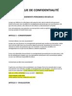 POLITIQUE DE CONFIDENTIALITÉ - NEUTRE