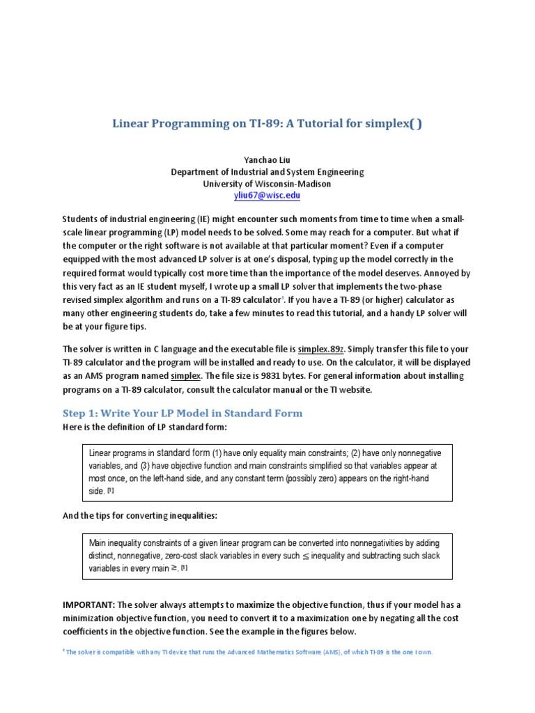 Linear programming on ti 89 linear programming calculator falaconquin