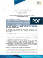Guia de actividades y rúbrica de evaluación - Tarea 1 - El Concepto de Integral