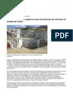 Serviço Geológico registra novas ocorrências de minerais no estado do Ceará