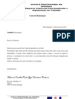 Carta de reclamação de ecfot
