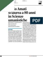 Lucio Amati si laurea a 80 anni in Scienze Umanistiche - Il Corriere Romagna del 10 settembre 2021