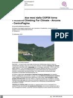 Torna l'iniziativa Climbing for Climate - Centropagina.it, 12 settembre 2021