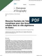 Mesures Fractales de l'Identité Morphique Pour Des Tissus Urbains Dans La Ville Algérienne de Batna