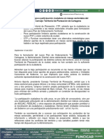 Comunicado de Funcicar y el CTP sobre mesas del POT