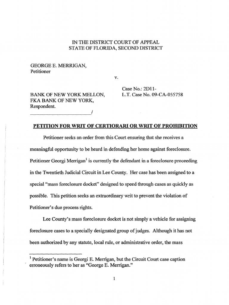 Merrigan v  Bank of New York - Petition Challenging