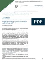 Interesse Mundial e a Produção Científica Do Brasil e Da USP - SIBiUSP - Sistema Integrado de Bibliotecas Da Universidade de São Paulo