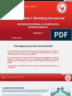 Marketing Internacional  DECISIÓN DE ENTRADA A LOS MERCADOS INTERNACIONALES  Semana 3