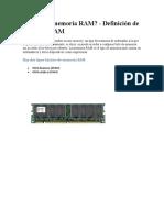 Qué es la memoria RAM