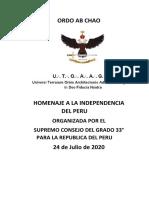 4° Homenaje a la Independencia del Perú - V.·.H.·. Guillermo Reyes Beltán, 9°