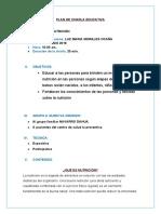 PLAN DE CHARLA EDUCATIVA NUTRICION