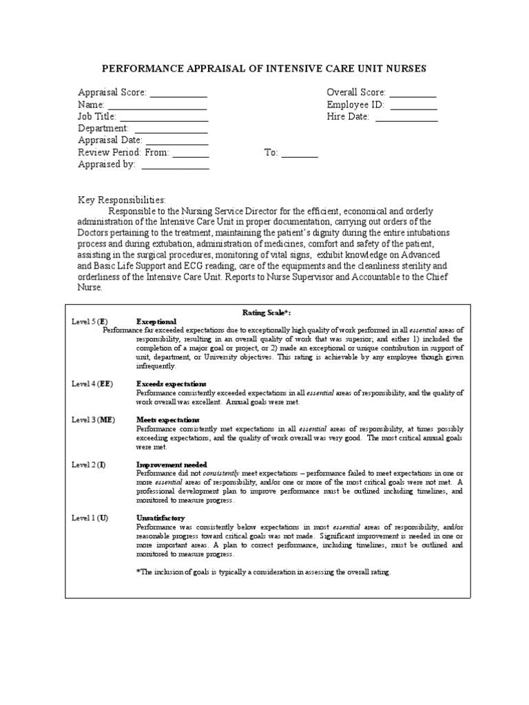 performance appraisal of intensive care unit nurses patient