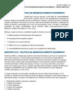Política de Desenvolvimento Econômico - Prova Objetiva
