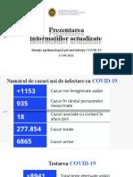 Raportul COVID-19 privind Situația Epidemiologică la 15 septembrie 2021 (ora 17:00):
