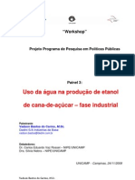 Uso da água na produção de etanol