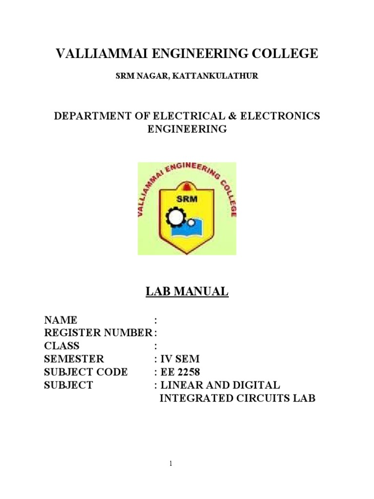 New Linear intergrated circuits( lab Manual) | Operational Amplifier |  Subtraction