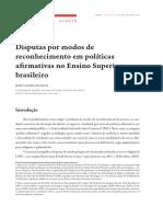 Disputas por modos de reconhecimento em políticas afirmativas no Ensino Superior brasileiro