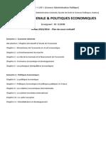 Plan - Lap - Plan de Cours - Economie Et Politiques Economiques - Seurin - Lap - 2013-2014 - 29-01-2014