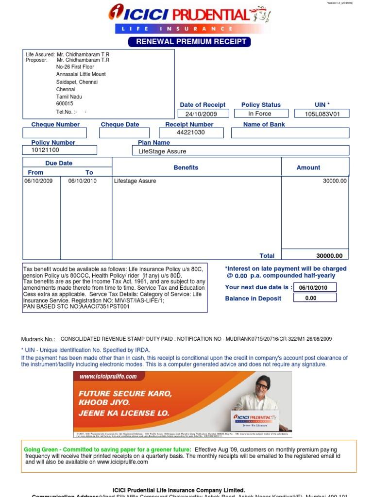 ICICI Receipt | Life Insurance | Receipt
